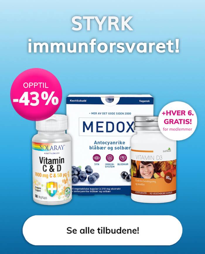 Kosttilskudd tilbud immunforsvar Sunkost